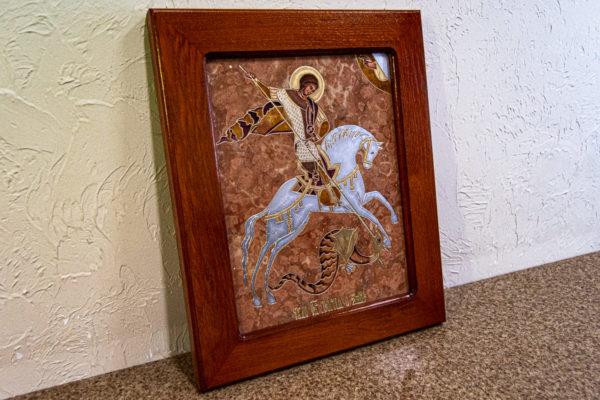 Икона Святого Георгия Победоносца № 04 из мрамора на коне, каталог, изображение, фото 2