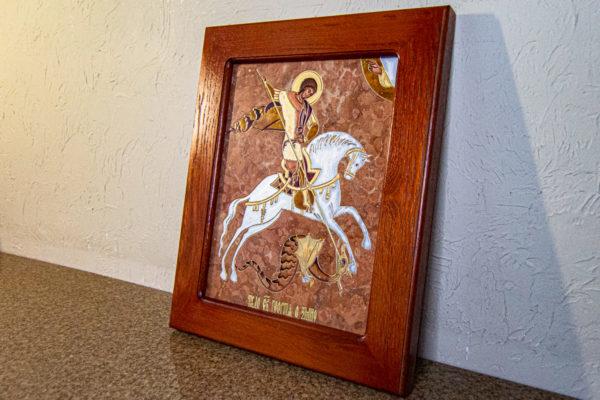 Икона Святого Георгия Победоносца № 04 из мрамора на коне, каталог, изображение, фото 3