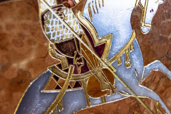 Икона Святого Георгия Победоносца № 04 из мрамора на коне, каталог, изображение, фото 4