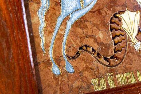 Икона Святого Георгия Победоносца № 04 из мрамора на коне, каталог, изображение, фото 5