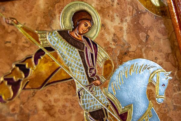 Икона Святого Георгия Победоносца № 04 из мрамора на коне, каталог, изображение, фото 6