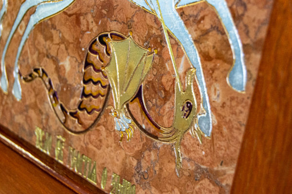 Икона Святого Георгия Победоносца № 04 из мрамора на коне, каталог, изображение, фото 8
