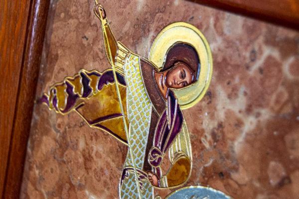 Икона Святого Георгия Победоносца № 04 из мрамора на коне, каталог, изображение, фото 9