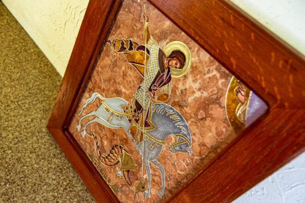 Икона Святого Георгия Победоносца № 04 из мрамора на коне, каталог, изображение, фото 11