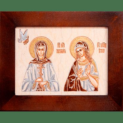 Семейная икона из мрамора - Святые Мелания и Ирина № 01, каталог икон, изображение, фото 1