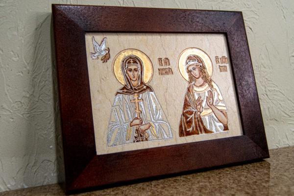 Семейная икона из мрамора - Святые Мелания и Ирина № 01, каталог икон, изображение, фото 2