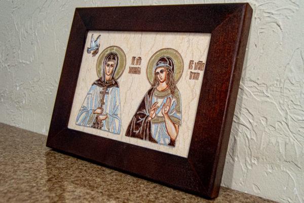 Семейная икона из мрамора - Святые Мелания и Ирина № 01, каталог икон, изображение, фото 3