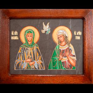 Семейная икона из мрамора - Святые Мелания и Ирина № 02, каталог икон, изображение, фото 1