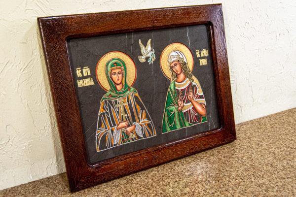 Семейная икона из мрамора - Святые Мелания и Ирина № 02, каталог икон, изображение, фото 2