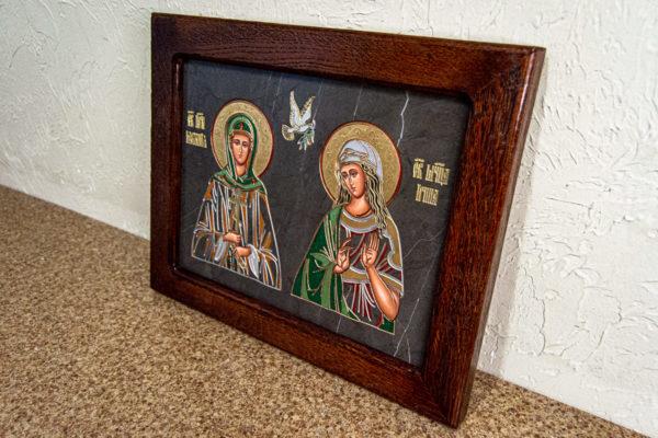 Семейная икона из мрамора - Святые Мелания и Ирина № 02, каталог икон, изображение, фото 3