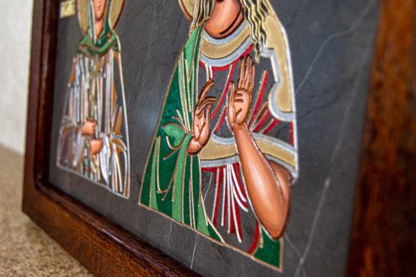 Семейная икона из мрамора - Святые Мелания и Ирина № 02, каталог икон, изображение, фото 4