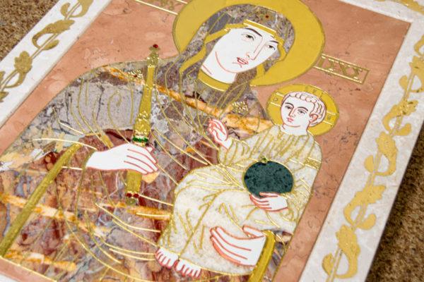Икона Минская Богородица под № 1-12-6 из мрамора, изображение, фото для каталога икон 12