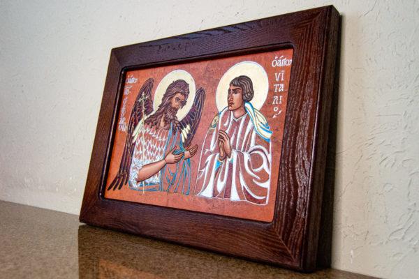 Семейная икона, Святые Иоанн Креститель (Иоанн Предтеча) и Виталий№ 01, изображение, фото 3