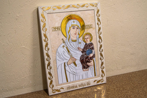 Икона Минская Богородица под № 1-12-9 из мрамора, изображение, фото для каталога икон 3