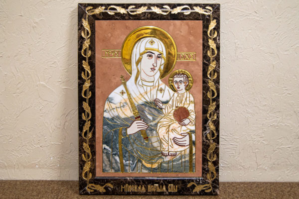 Икона Минская Богородица под № 1-12-11 из мрамора, изображение, фото для каталога икон 1