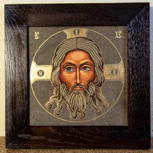 Икона Иисуса Христа - Спас Нерукотворный № 3-4 из мрамора, изображение, фото 1