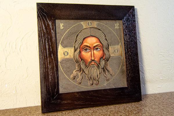 Икона Иисуса Христа - Спас Нерукотворный № 3-4 из мрамора, изображение, фото 2