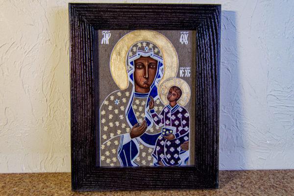 Икона Ченстоховской Божией Матери № 07 из мрамора, каталог икон, изображение, фото 1