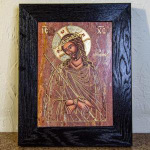 Икона Иисуса Христа - Царь Иудейский № 06 из мрамора, изображение, фото 1