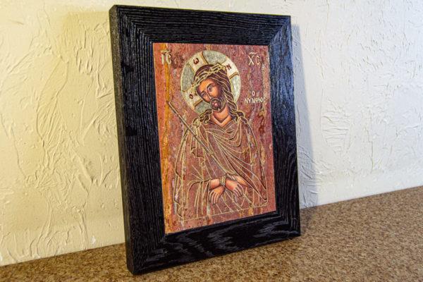 Икона Иисуса Христа - Царь Иудейский № 06 из мрамора, изображение, фото 2