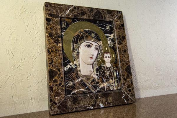 Икона Казанской Божией Матери № 3-12-9 из мрамора, камня, от Гливи, фото 12