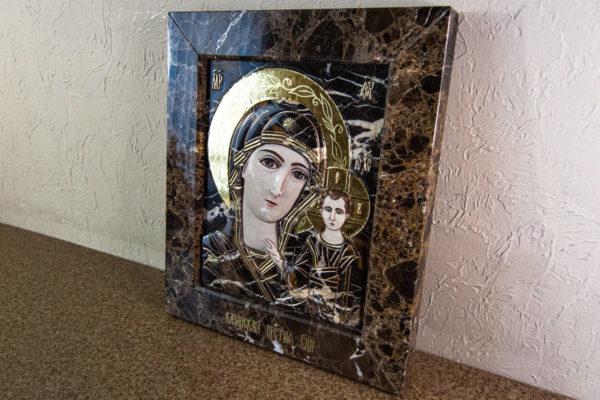 Икона Казанской Божией Матери № 3-12-9 из мрамора, камня, от Гливи, фото 18