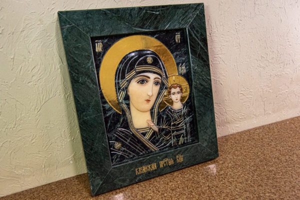 Икона Казанской Божией Матери № 4-12-3 из мрамора, камня, от Гливи, фото 2