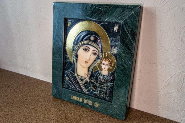 Икона Казанской Божией Матери № 4-12-3 из мрамора, камня, от Гливи, фото 3