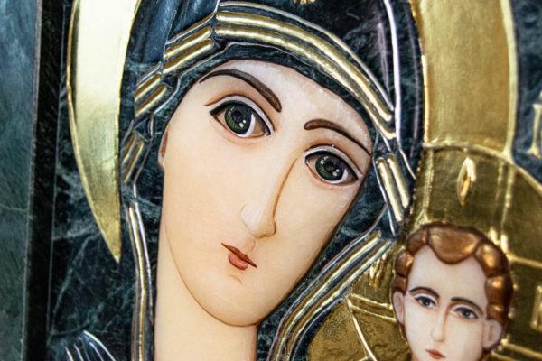 Икона Казанской Божией Матери № 4-12-3 из мрамора, камня, от Гливи, фото 4