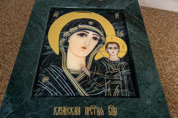 Икона Казанской Божией Матери № 4-12-3 из мрамора, камня, от Гливи, фото 19
