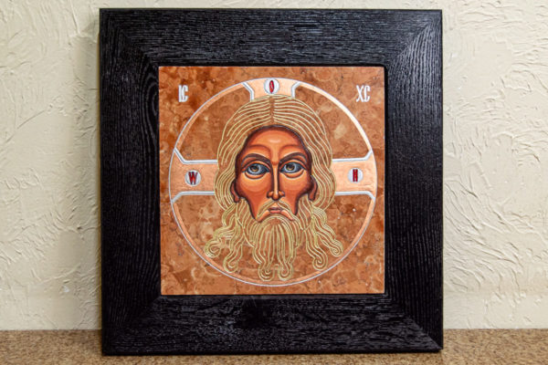 Икона Иисуса Христа - Спас Нерукотворный № 3-2 из мрамора, изображение, фото 1
