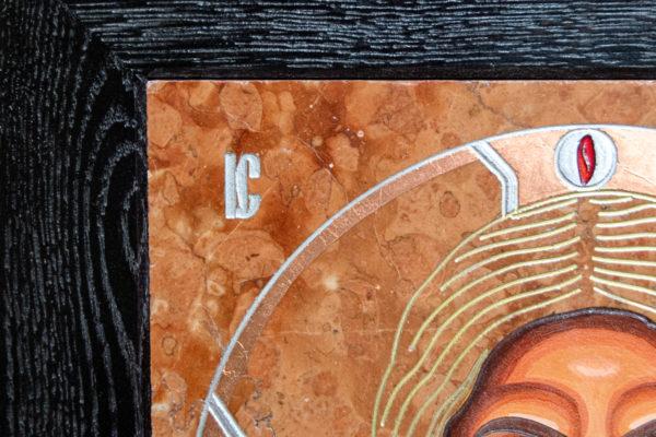 Икона Иисуса Христа - Спас Нерукотворный № 3-2 из мрамора, изображение, фото 3