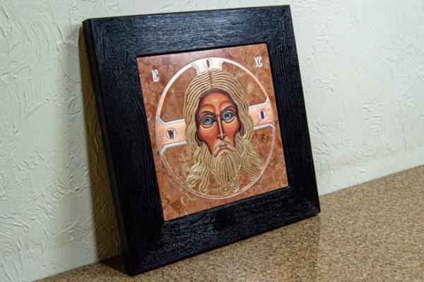Икона Иисуса Христа - Спас Нерукотворный № 3-2 из мрамора, изображение, фото 5