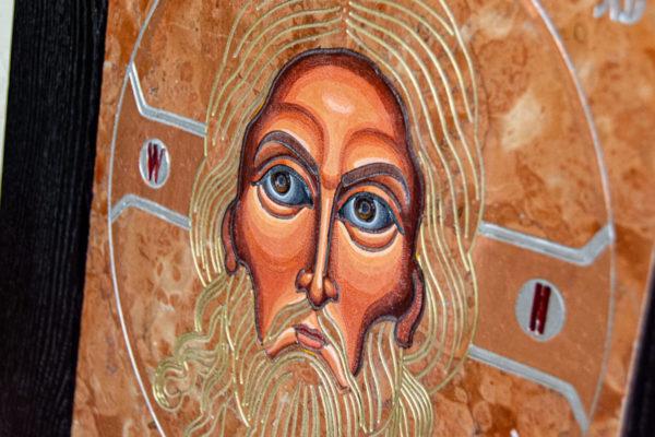 Икона Иисуса Христа - Спас Нерукотворный № 3-2 из мрамора, изображение, фото 7
