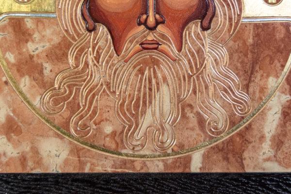 Икона Иисуса Христа - Спас Нерукотворный № 3-3 из мрамора, изображение, фото 1