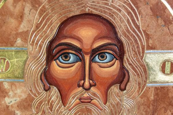 Икона Иисуса Христа - Спас Нерукотворный № 3-3 из мрамора, изображение, фото 2