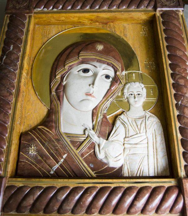 Икона Казанской Божией Матери (рельефная, храмовая) без № из мрамора, каталог икон, фото 9
