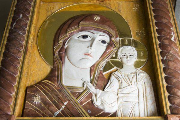 Икона Казанской Божией Матери (рельефная, храмовая) без № из мрамора, каталог икон, фото 10