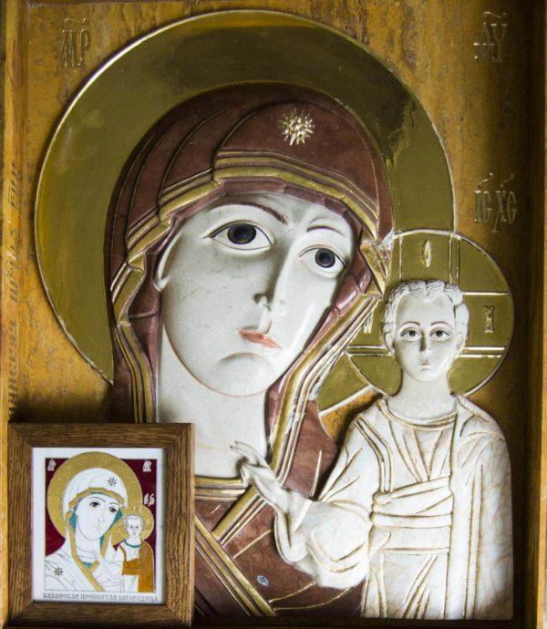 Икона Казанской Божией Матери (рельефная, храмовая) без № из мрамора, каталог икон, фото 11