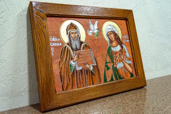Икона Святых Саавы и Ирины № 01 из мрамора, интернет магазин икон, изображение, фото 12