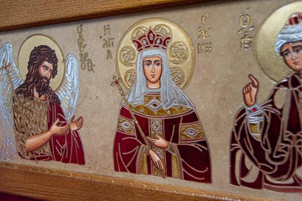 Икона Святых Иоанна, Елены и Даниила № 01 из мрамора, изображение, фото 1