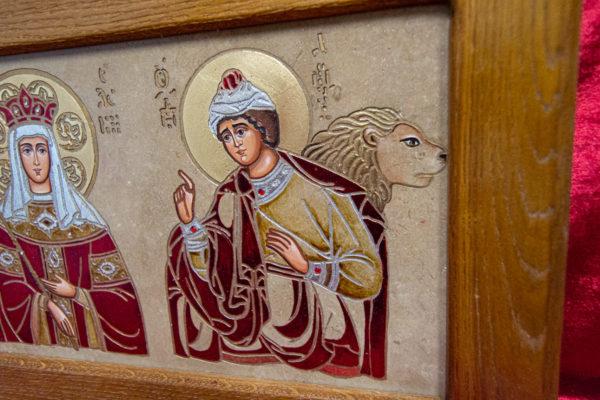 Икона Святых Иоанна, Елены и Даниила № 01 из мрамора, изображение, фото 2