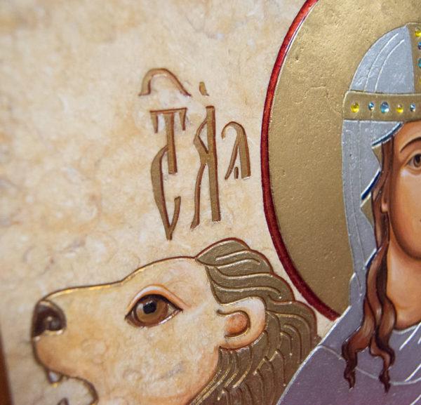 Икона Святой Дарьи Римской № 02 из мрамора, интернет магазин икон, изображение, фото 8
