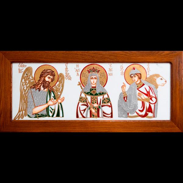 Икона Святых Иоанна, Елены и Даниила № 02 из мрамора, изображение, фото 1