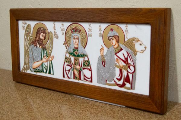 Икона Святых Иоанна, Елены и Даниила № 02 из мрамора, изображение, фото 3