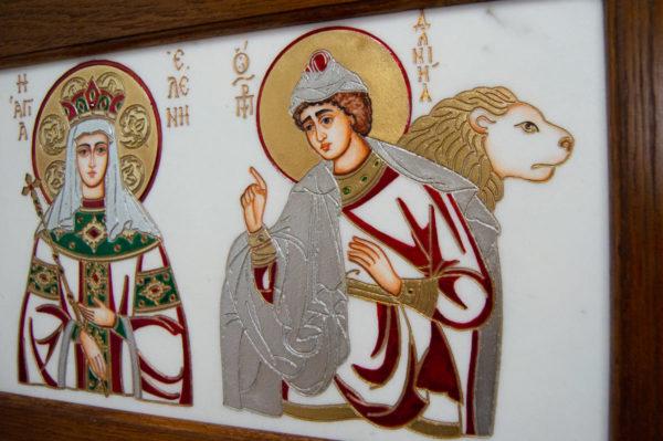 Икона Святых Иоанна, Елены и Даниила № 02 из мрамора, изображение, фото 11