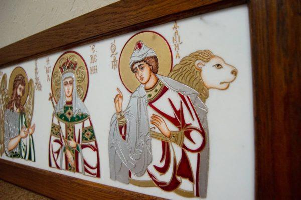Икона Святых Иоанна, Елены и Даниила № 02 из мрамора, изображение, фото 12