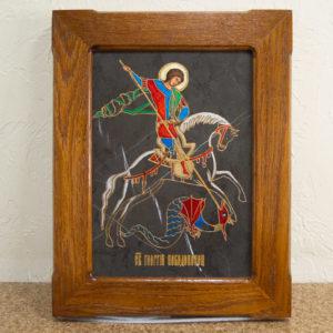 Икона Святого Георгия Победоносца № 05 из мрамора на коне, каталог, изображение, фото 1