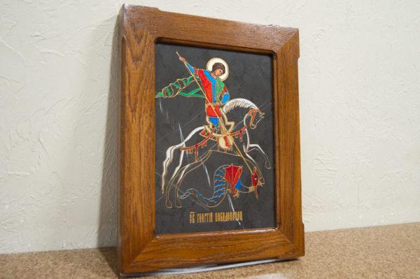 Икона Святого Георгия Победоносца № 05 из мрамора на коне, каталог, изображение, фото 3