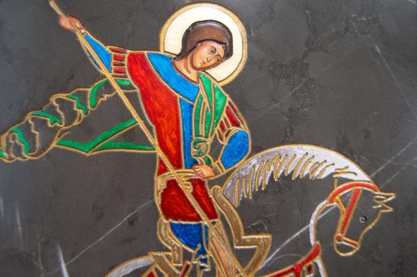 Икона Святого Георгия Победоносца № 05 из мрамора на коне, каталог, изображение, фото 4